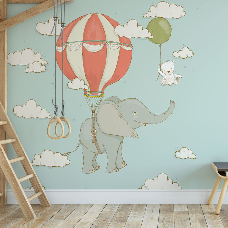 Kinderbehang Olifantje aan ballon - blauw