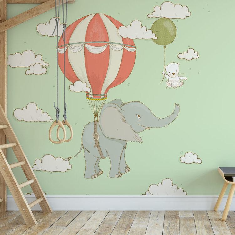 Kinderbehang Olifantje aan ballon - groen