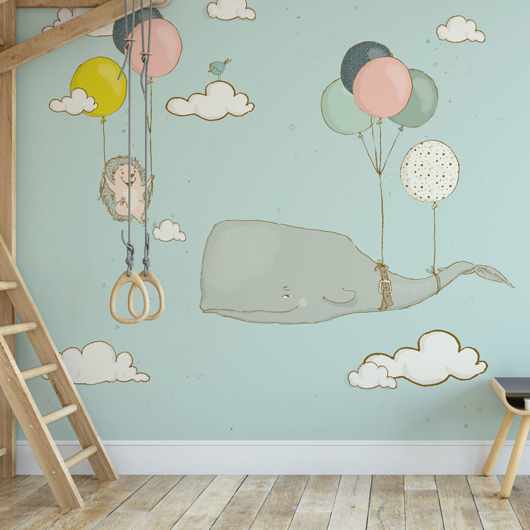 Kinderbehang walvis en egel aan ballonnen - blauw
