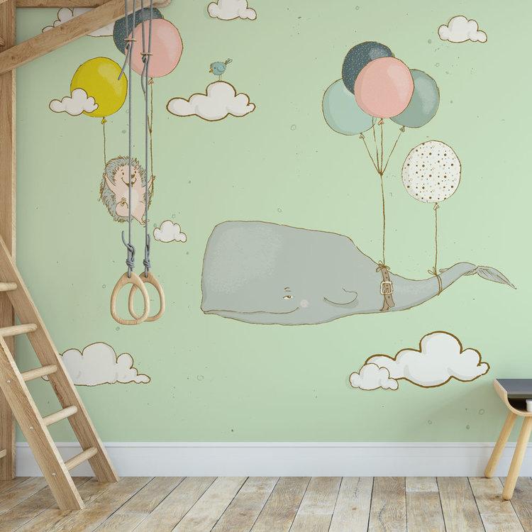 Kinderbehang walvis en egel aan ballonnen - groen