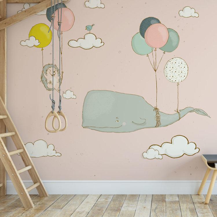 Kinderbehang walvis en egel aan ballonnen - roze