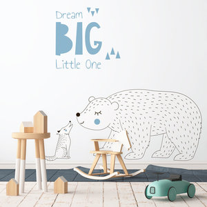 Muursticker Dream Big - Blue