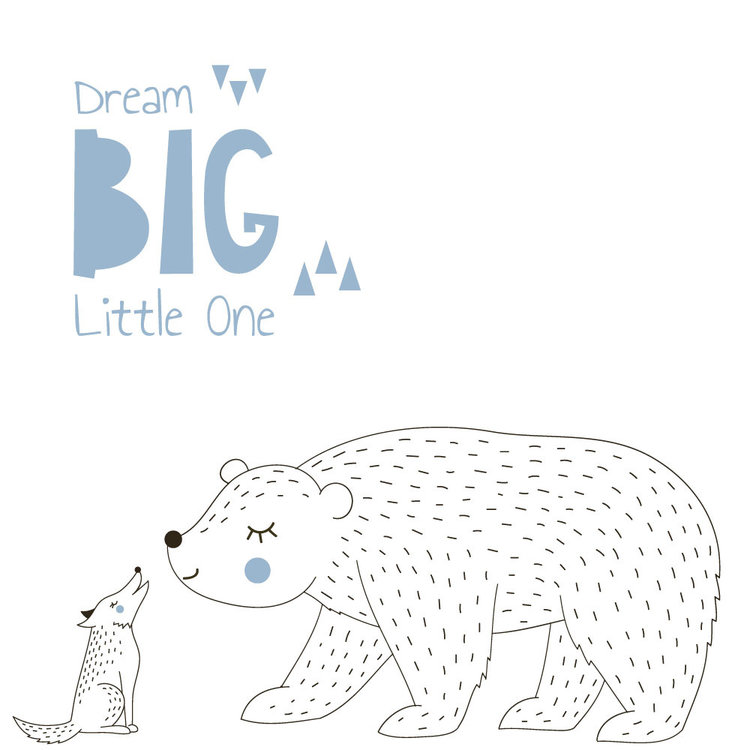 Muursticker Dream Big - Blue