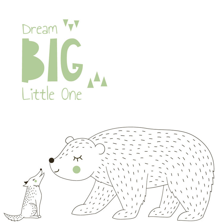 Muursticker Dream Big - Green