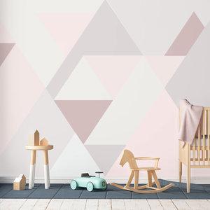 Behang Bergen abstract pink