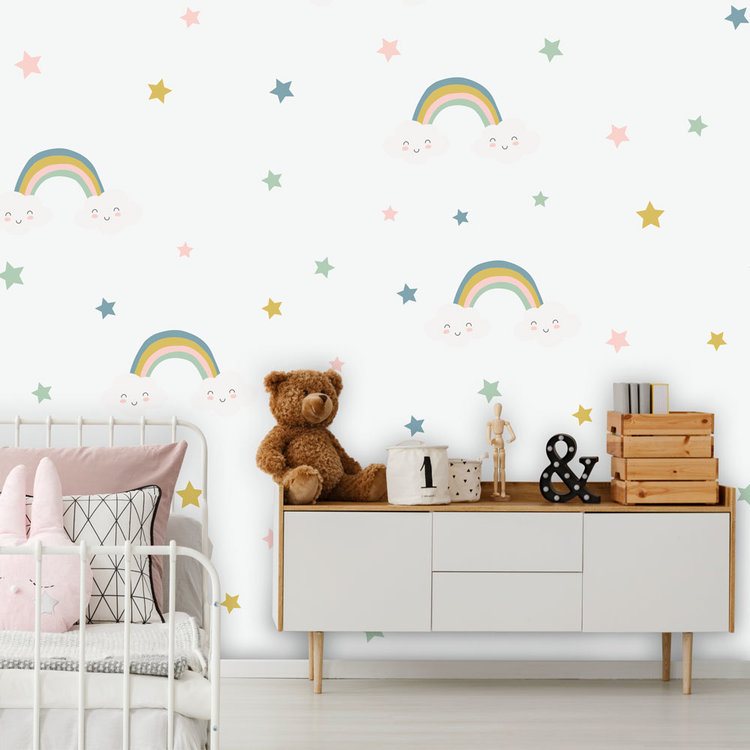 Muursticker Rainbows & Stars - Blue