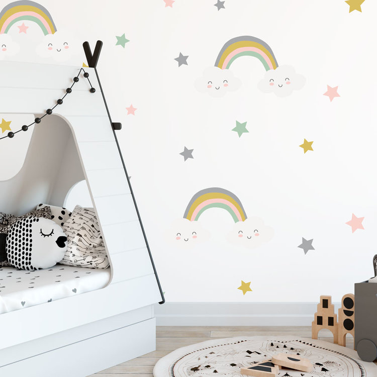 Muursticker Rainbows & Stars - Grey