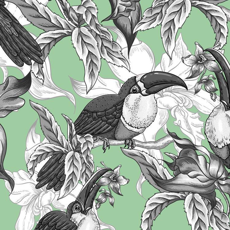 Behang Royal Birds green