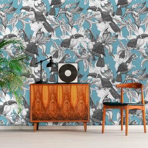 Behang Royal Birds blue