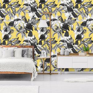 Behang Royal Birds yellow
