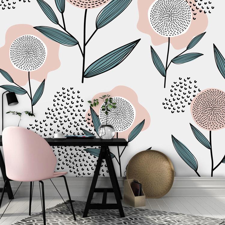 Behang Retro flowers - pink