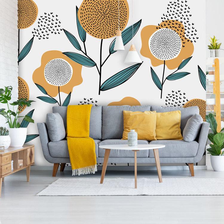 Behang Retro flowers - mustard