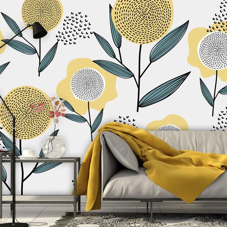 Behang Retro flowers - yellow