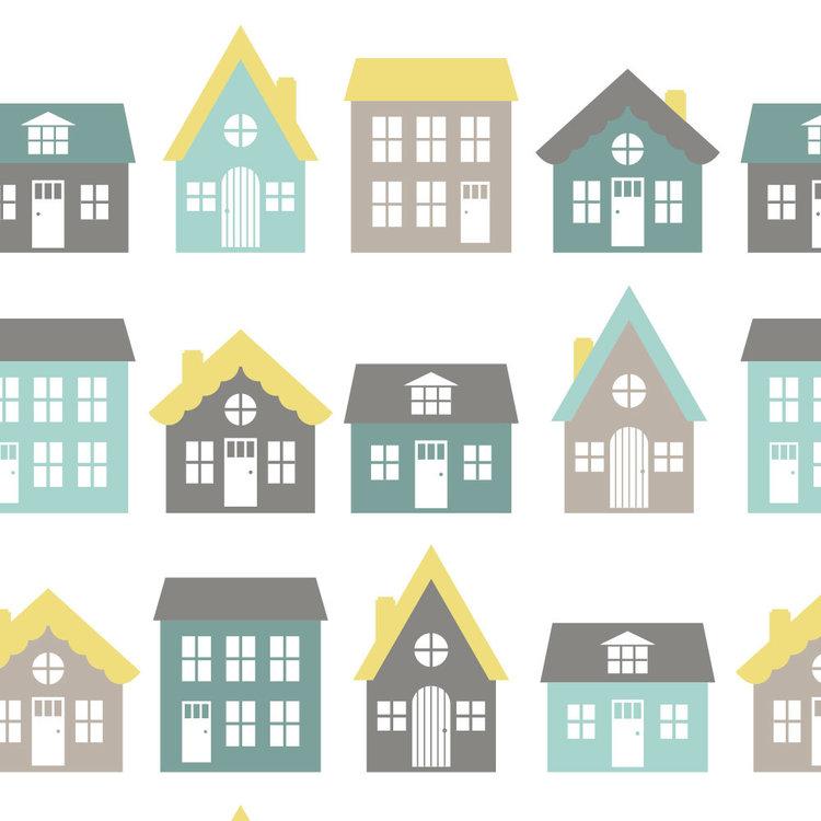 Behang Town houses yellow