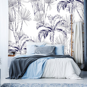 Behang Palms in blue