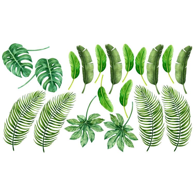 Muurstickers leaves green
