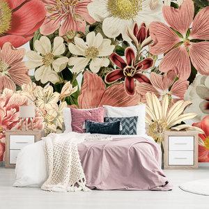 Behang floral pink