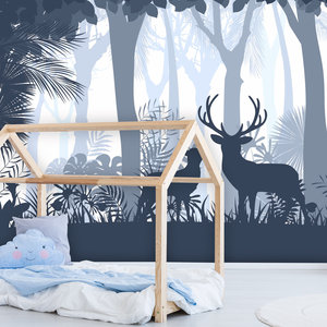 Behang Deer in the woods - blue