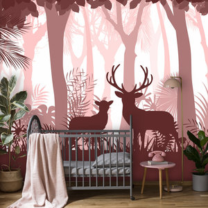 Behang Deer in the woods - pink