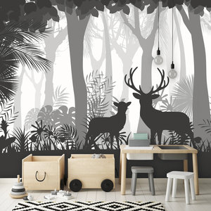 Behang Deer in the woods - grey