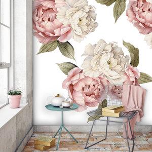 Muursticker set Peonies pink- white