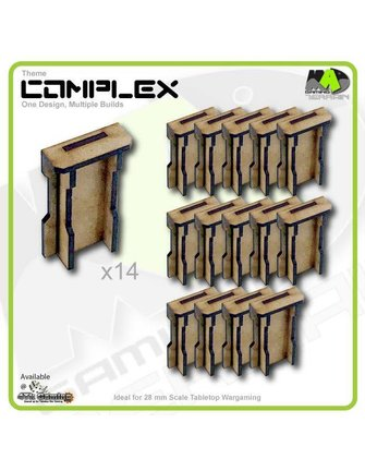 MAD Gaming Terrain Large Wall Ends set x14