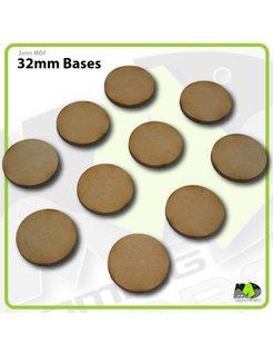 32mm MDF Round Bases x10