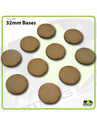 MAD Gaming Terrain 32mm MDF Round Bases x10