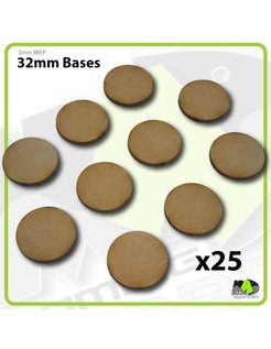 32mm MDF Round Bases x25