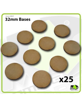 MAD Gaming Terrain 32mm MDF Round Bases x25