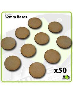 32mm MDF Round Bases x50