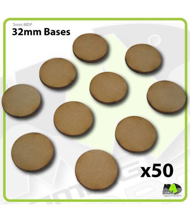 MAD Gaming Terrain 32mm MDF Round Bases x50