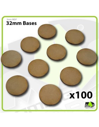 MAD Gaming Terrain 32mm MDF Round Bases x100