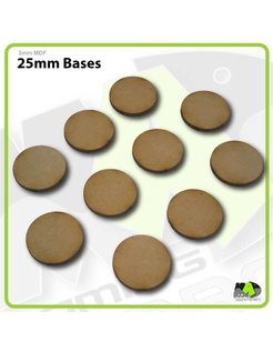 25mm MDF Round Bases x10