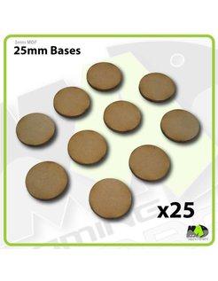 25mm MDF Round Bases x25