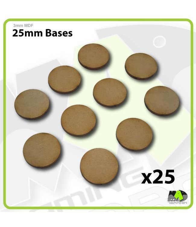 MAD Gaming Terrain 25mm MDF Round Bases x25