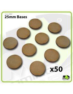 25mm MDF Round Bases x50