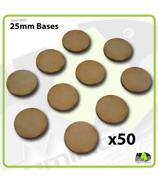 MAD Gaming Terrain 25mm MDF Round Bases x50