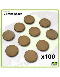 25mm MDF Round Bases x100