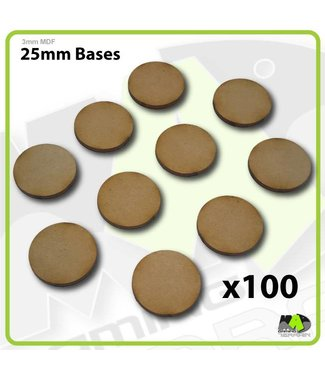 MAD Gaming Terrain 25mm MDF Round Bases x100