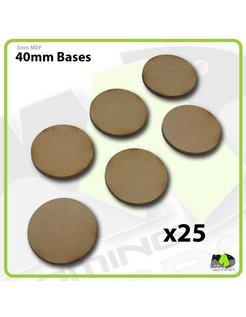 40mm MDF Round Bases x25