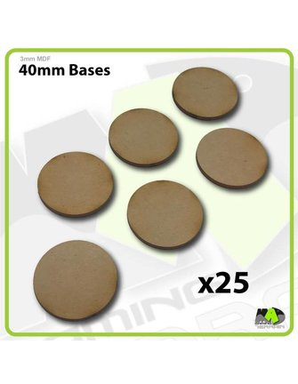MAD Gaming Terrain 40mm MDF Round Bases x25