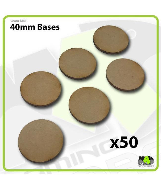 MAD Gaming Terrain 40mm MDF Round Bases x50