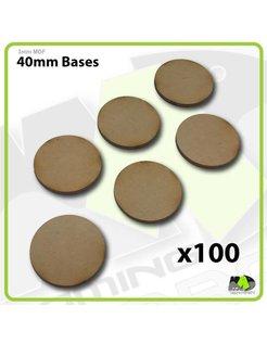 40mm MDF Round Bases x100