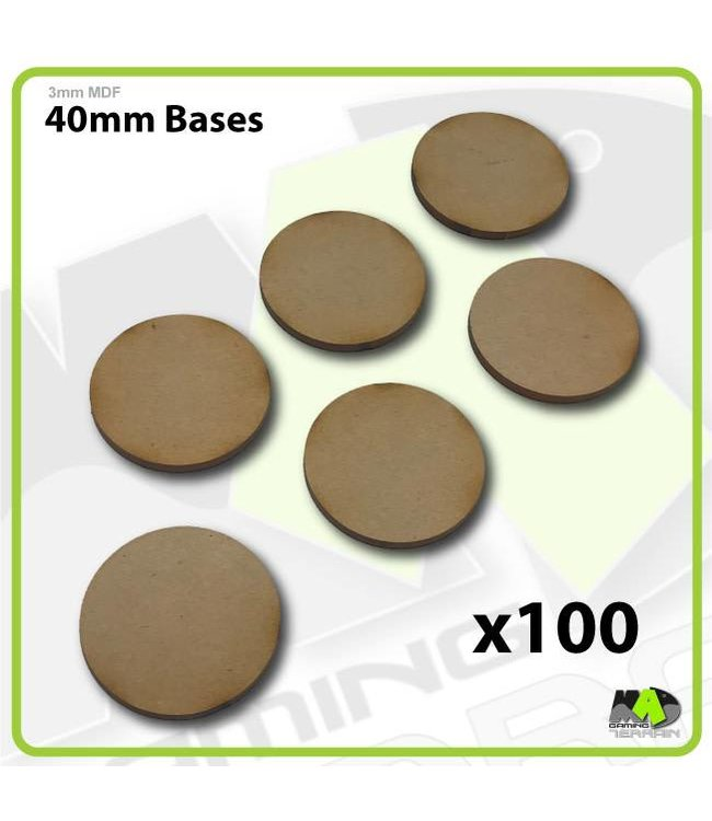 MAD Gaming Terrain 40mm MDF Round Bases x100