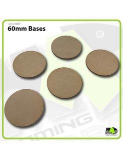 60mm MDF Round Bases x5