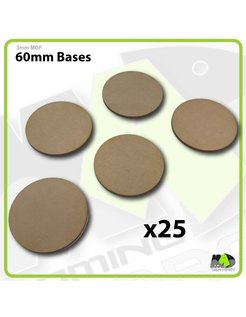 60mm MDF Round Bases x25