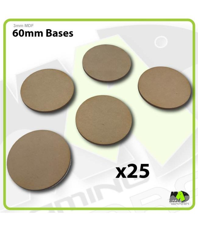 MAD Gaming Terrain 60mm MDF Round Bases x25