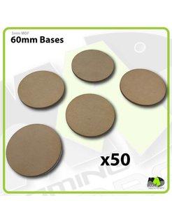 60mm MDF Round Bases x50