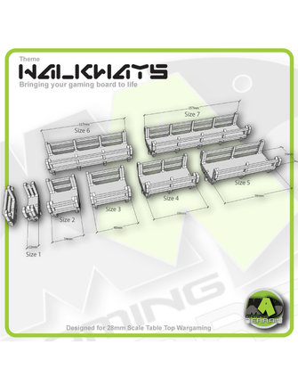 MAD Gaming Terrain Walkways - Straight Set Detailed